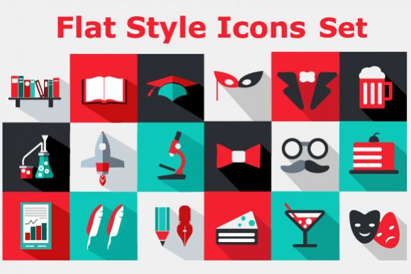Flat icons vector set example image 1