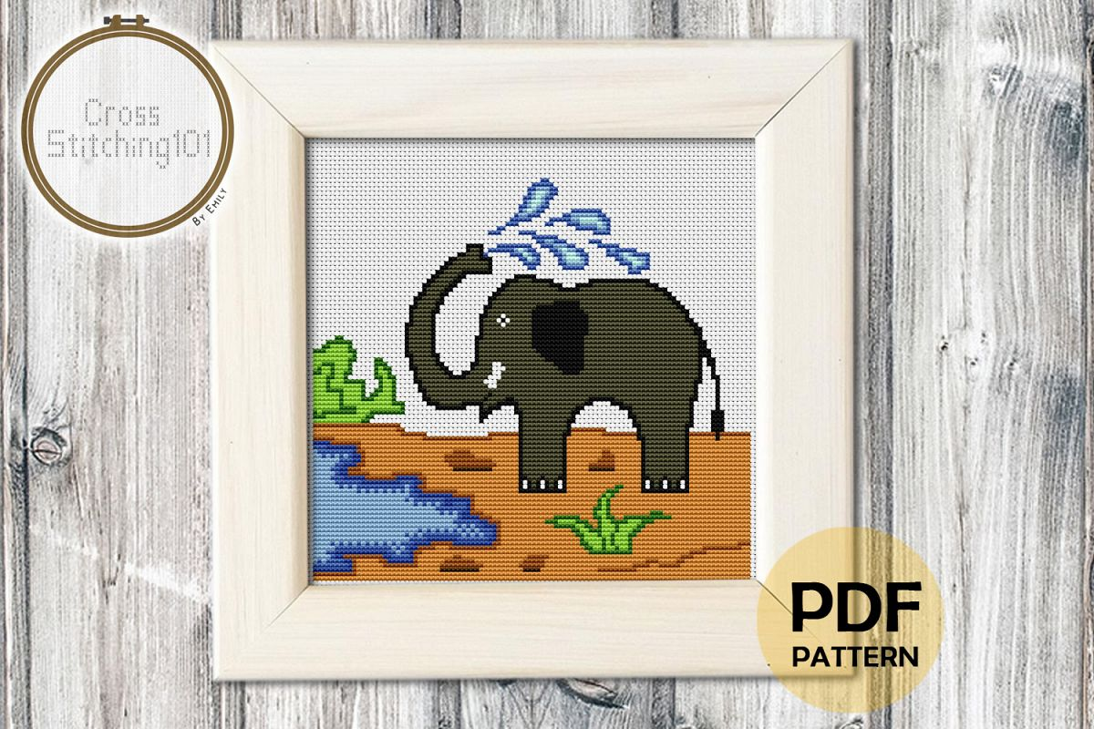 Elephant Modern Cross Stitch Pattern- Instant Download PDF example image 1