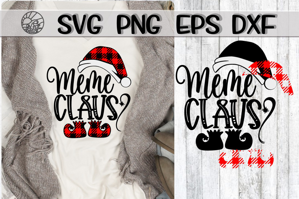 Meme Claus - Buffalo Plaid - SVG PNG EPS DXF example image 1