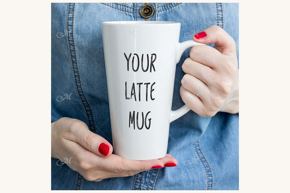 Latte Coffee Mug Photo Mock-up. PSD & JPEG example image 1
