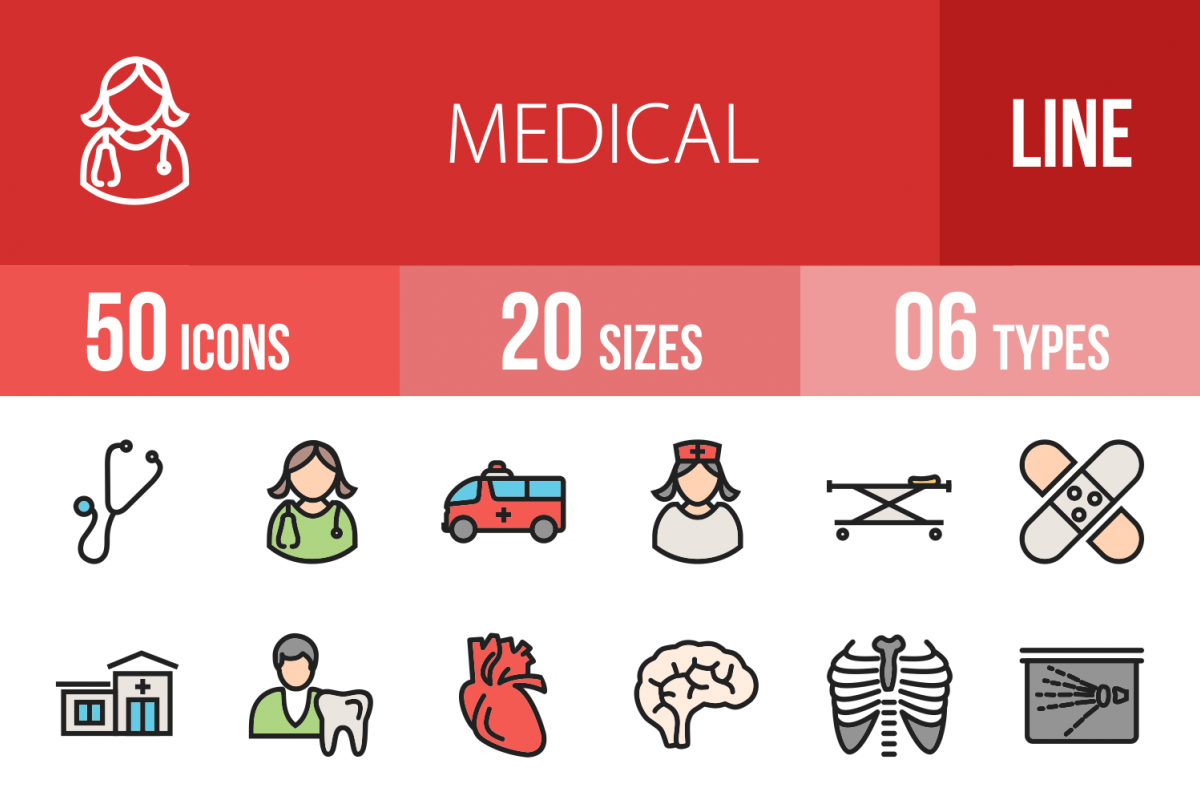 50 Medical Linear Multicolor Icons example image 1