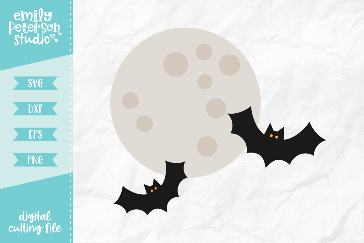 Bat Moon SVG DXF EPS PNG example image 1