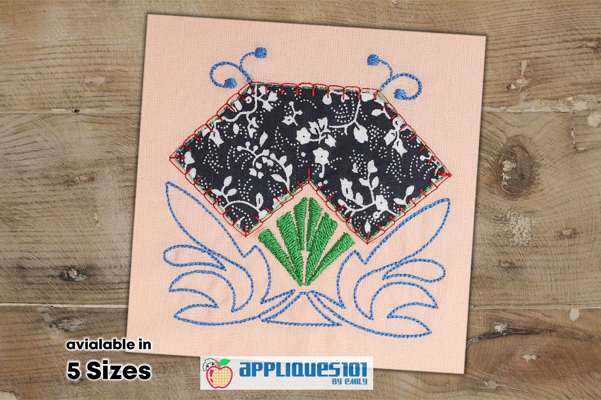 Diamond Shape Machine Embroidery Applique Design - Flowers example image 1