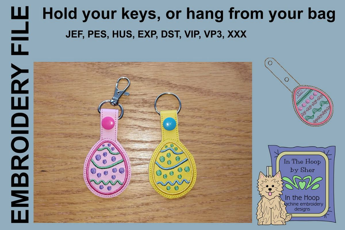 ITH Easter Egg 2 Key Fob - Embroidery Design example image 1