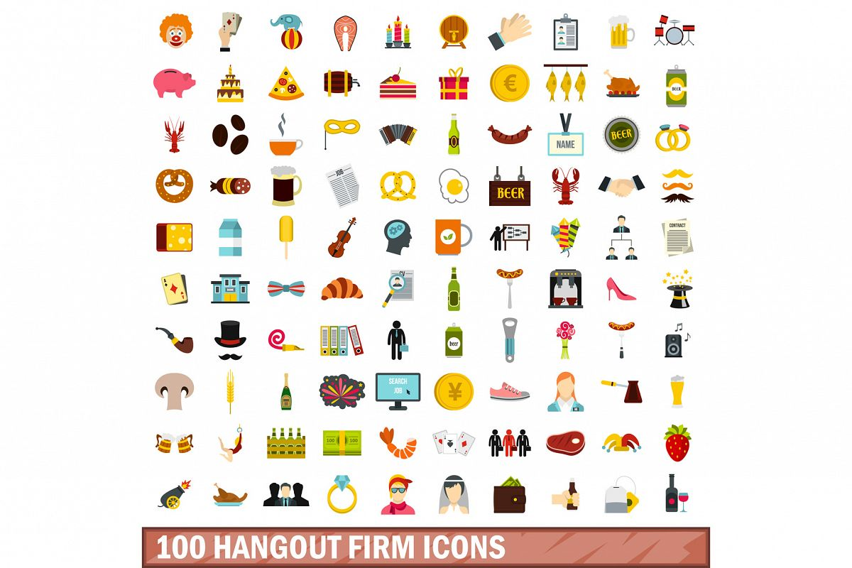 100 hangout firm icons set, flat style example image 1