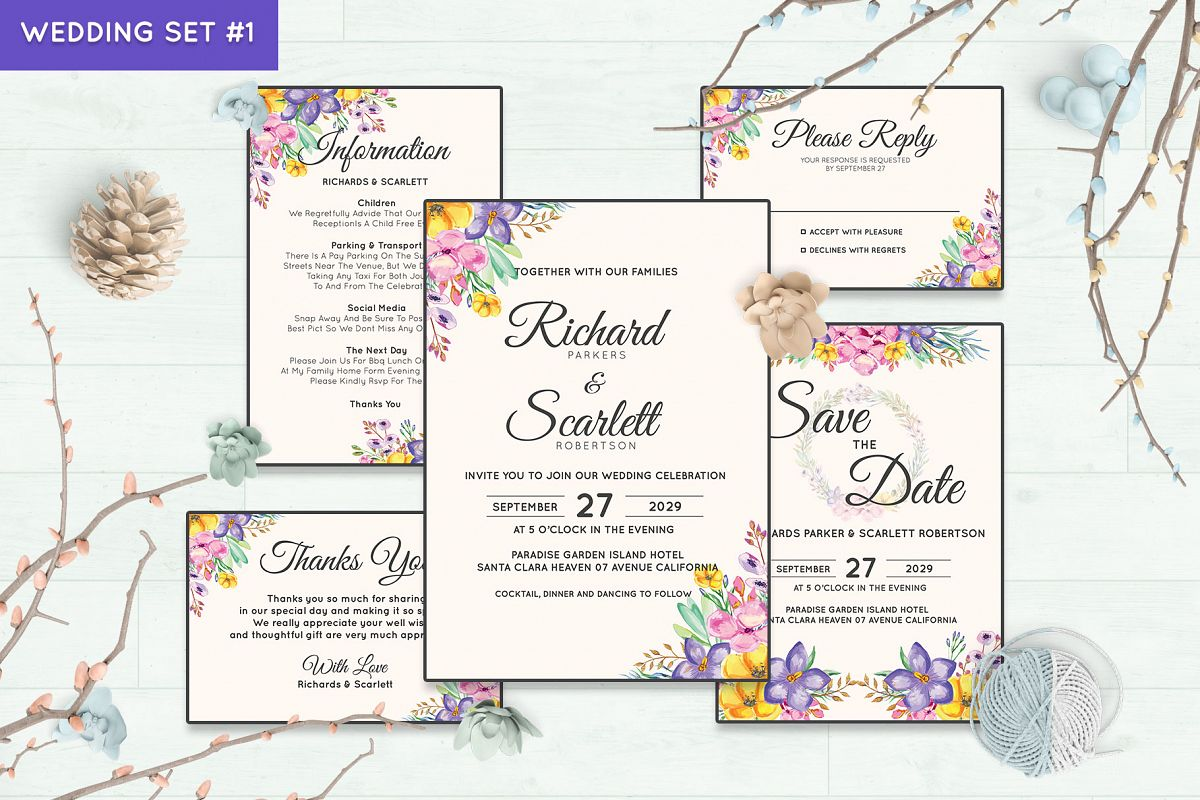 Wedding Invitation Set #1 Watercolor Floral Flower Style example image 1