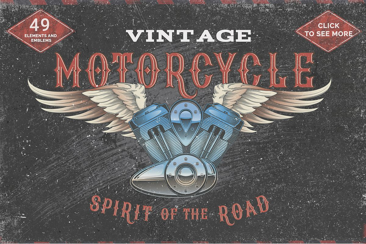 Vintage motorcycle, skulls and labels example image 1