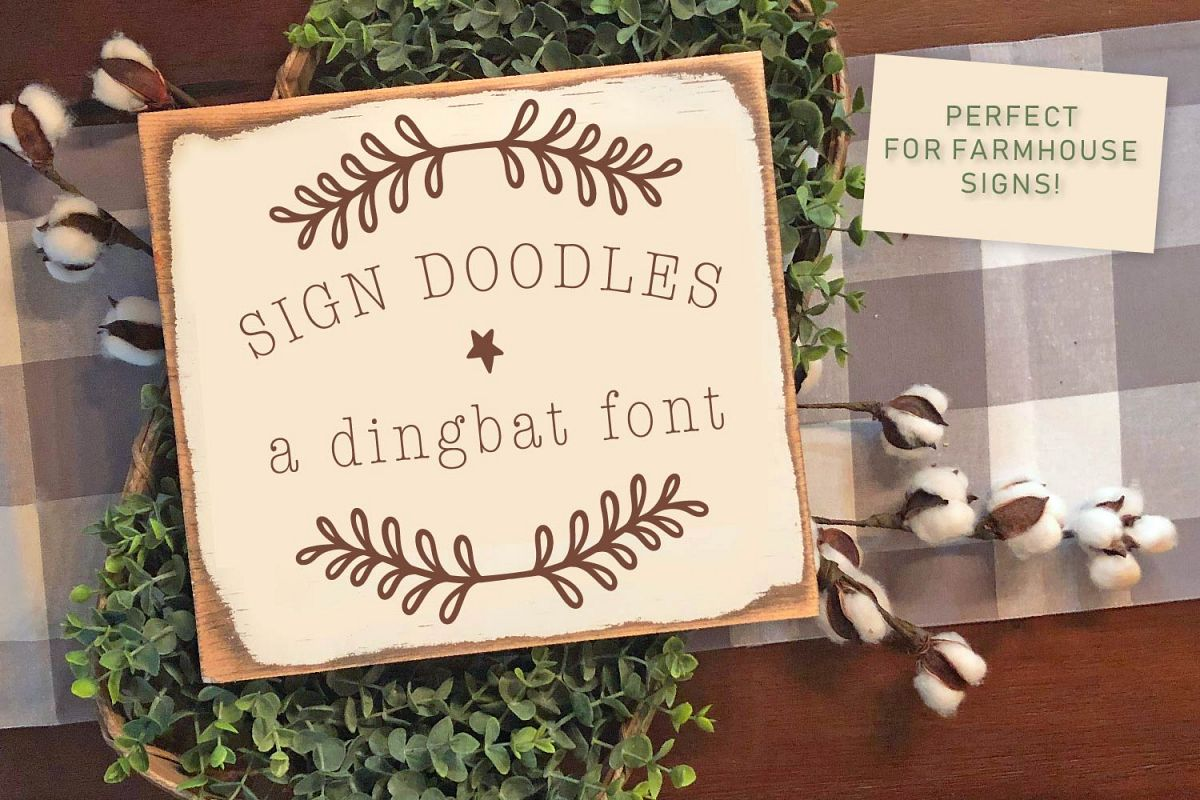 Sign Doodles - A Dingbat Font - Great For Farmhouse Signs! example image 1