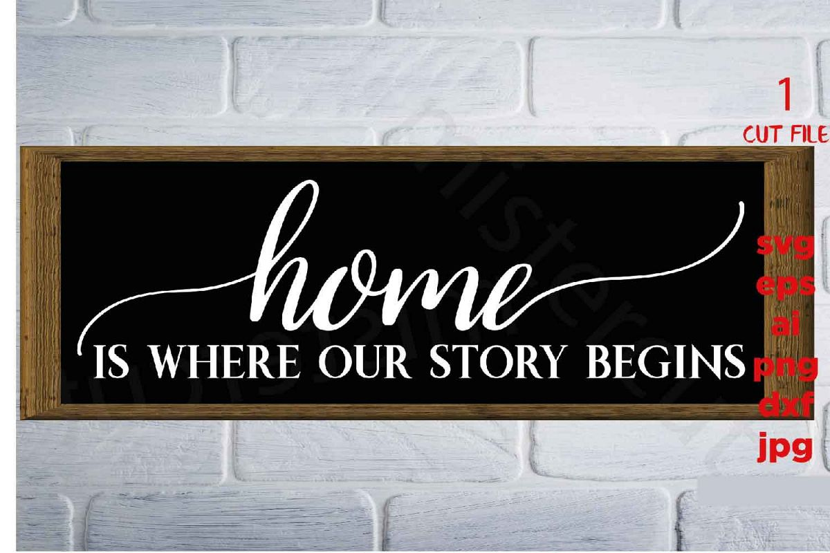 Home is where our story begins, Farmhouse Home svg, DxF, Ep example image 1