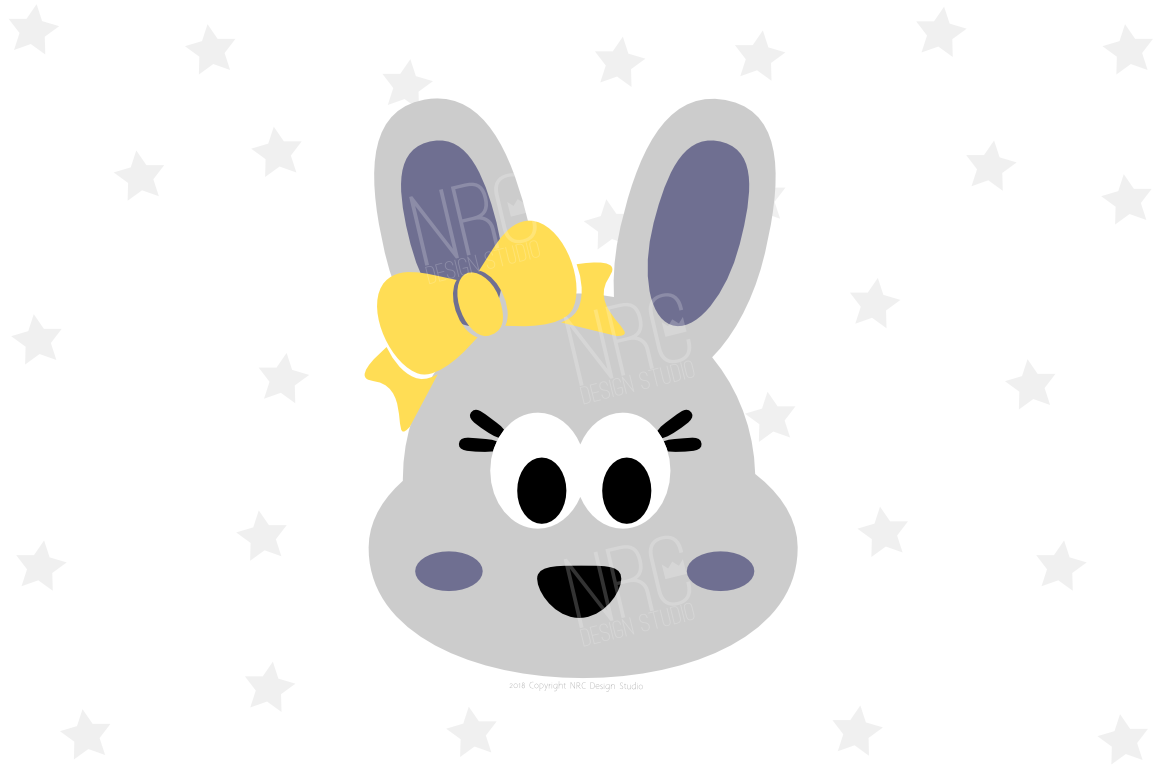 Girl Bunny Head SVG File example image 1