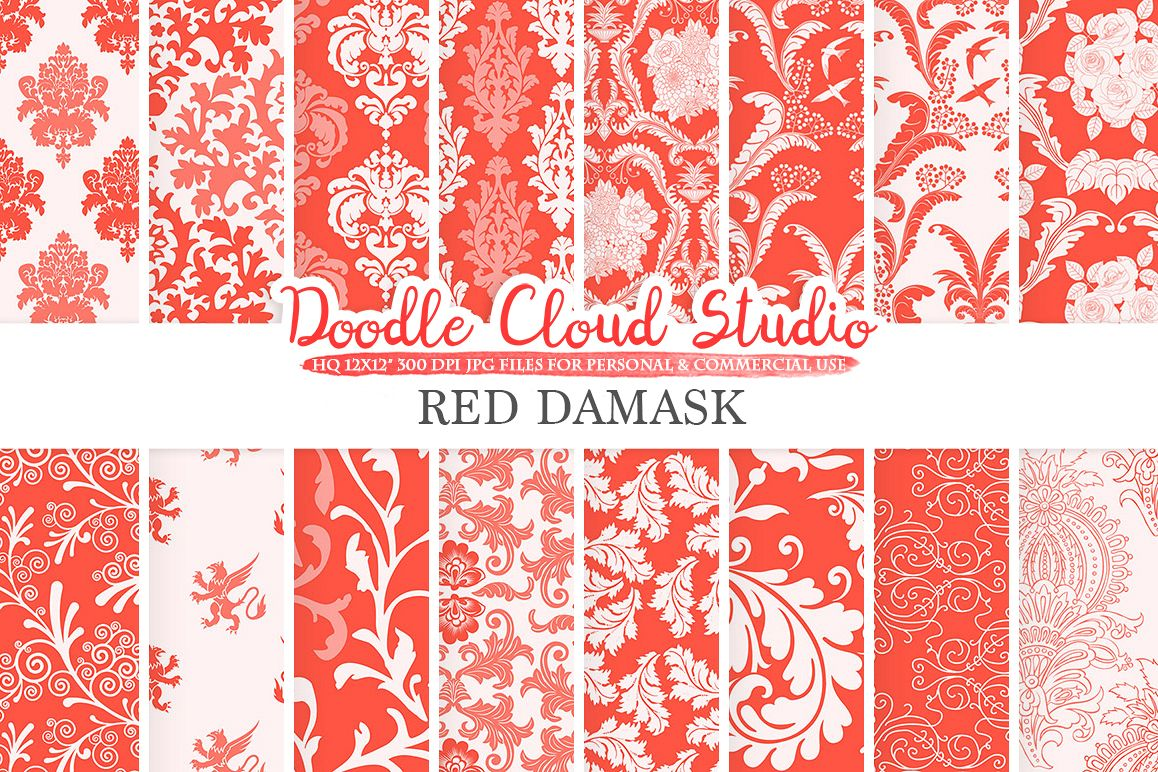 Red Damask digital paper, Swirls patterns, Digital Floral Damask, Scarlet Vermolion backgrounds, Instant Download, Personal & Commercial Use example image 1