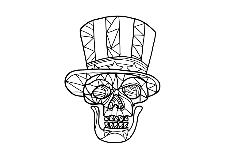 Skull Uncle Sam Black and White Mosaic example image 1