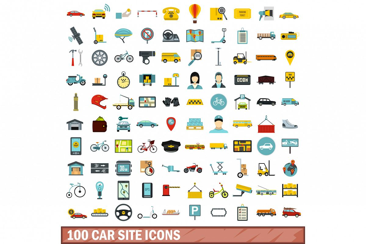 100 car site icons set, flat style example image 1