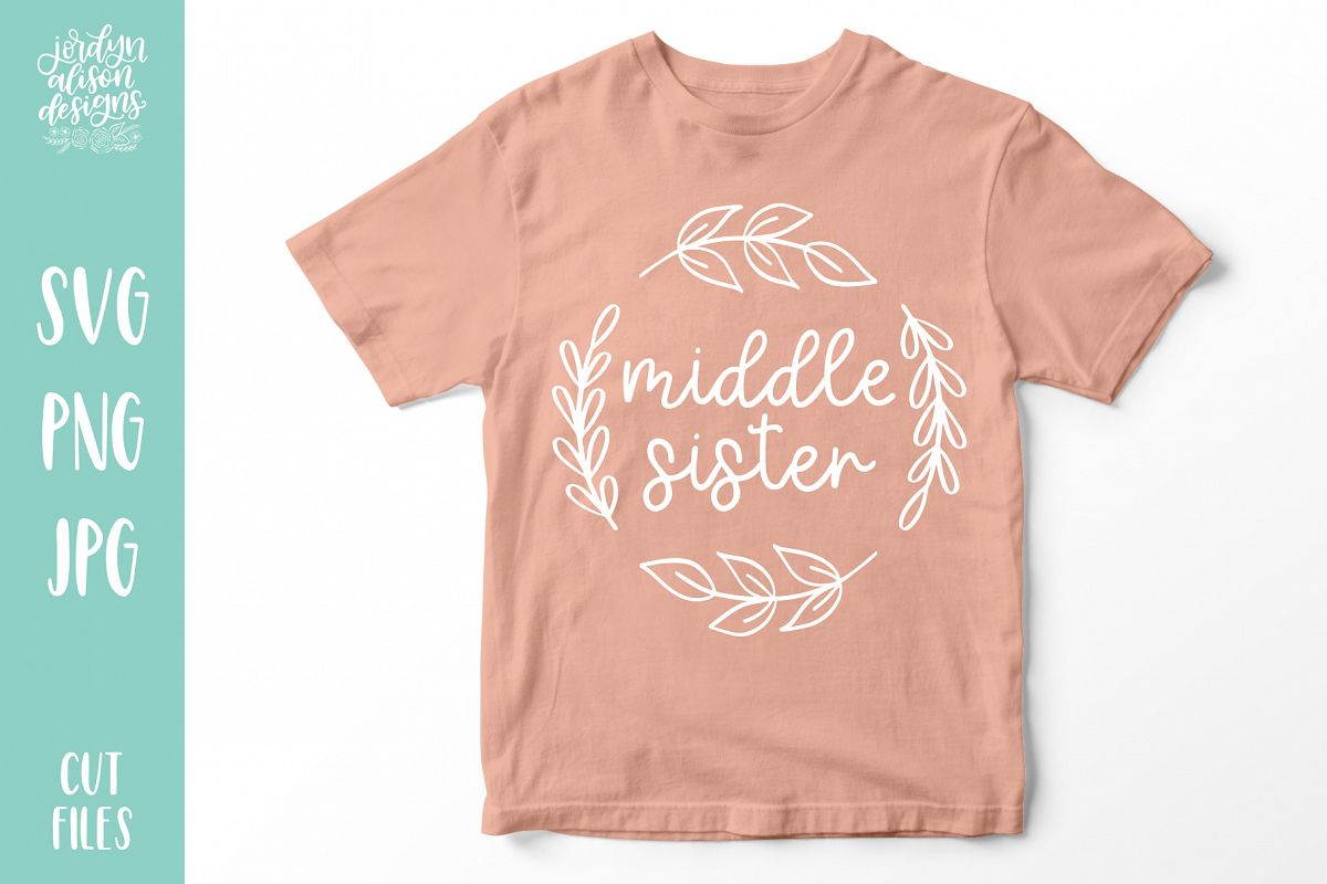 Middle Sister, New Baby SVG Cut File example image 1