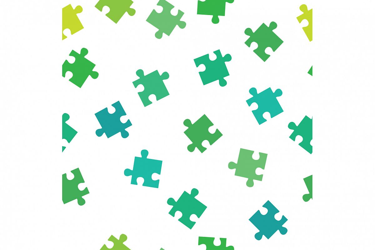 Seamless decorative vector background with puzzles. Print. Repeating background. Cloth design, wallpaper. example image 1