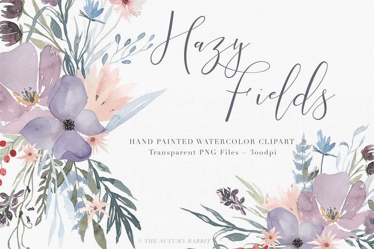 Watercolor Floral Clipart - Hazy Fields example image 1