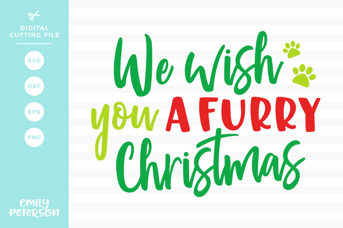 We Wish You A Furry Christmas SVG DXF EPS PNG example image 1