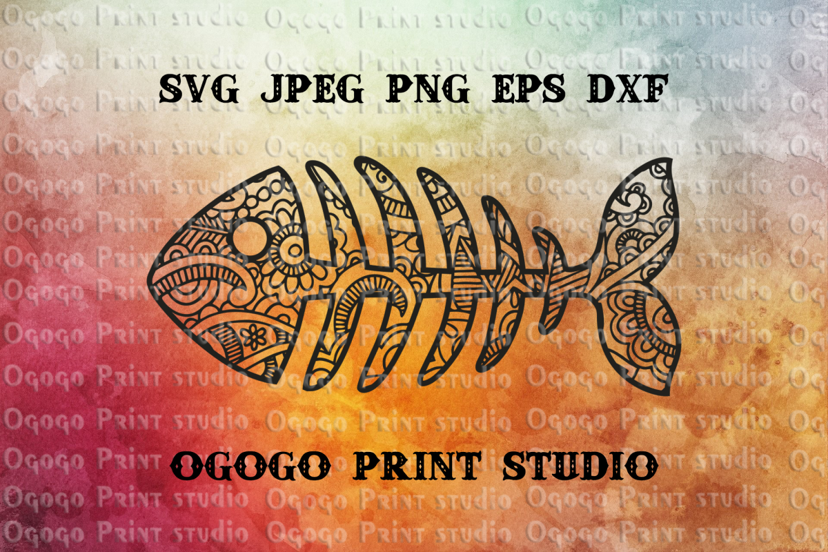 Fish Bones svg, Mandala svg, Fishing svg, Zentangle SVG example image 1