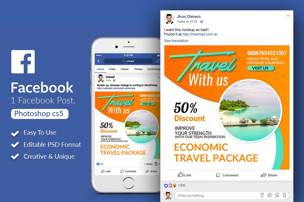 Tour & Travel Facebook Post Banner example image 1