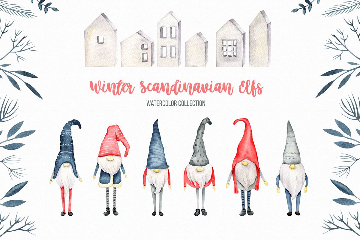 Winter Scandinavian Elfs, Nordic decor clipart watercolor example image 1