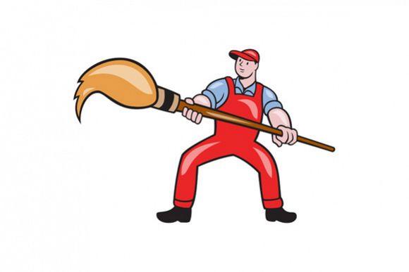 Artist Painter Standing Giant Paintbrush Cartoon example image 1