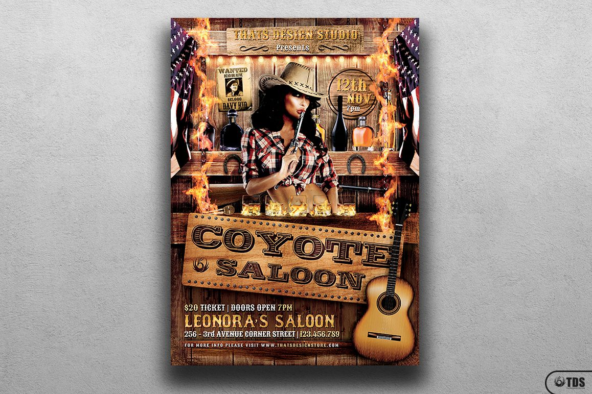 Coyote Bar Flyer Template example image 1