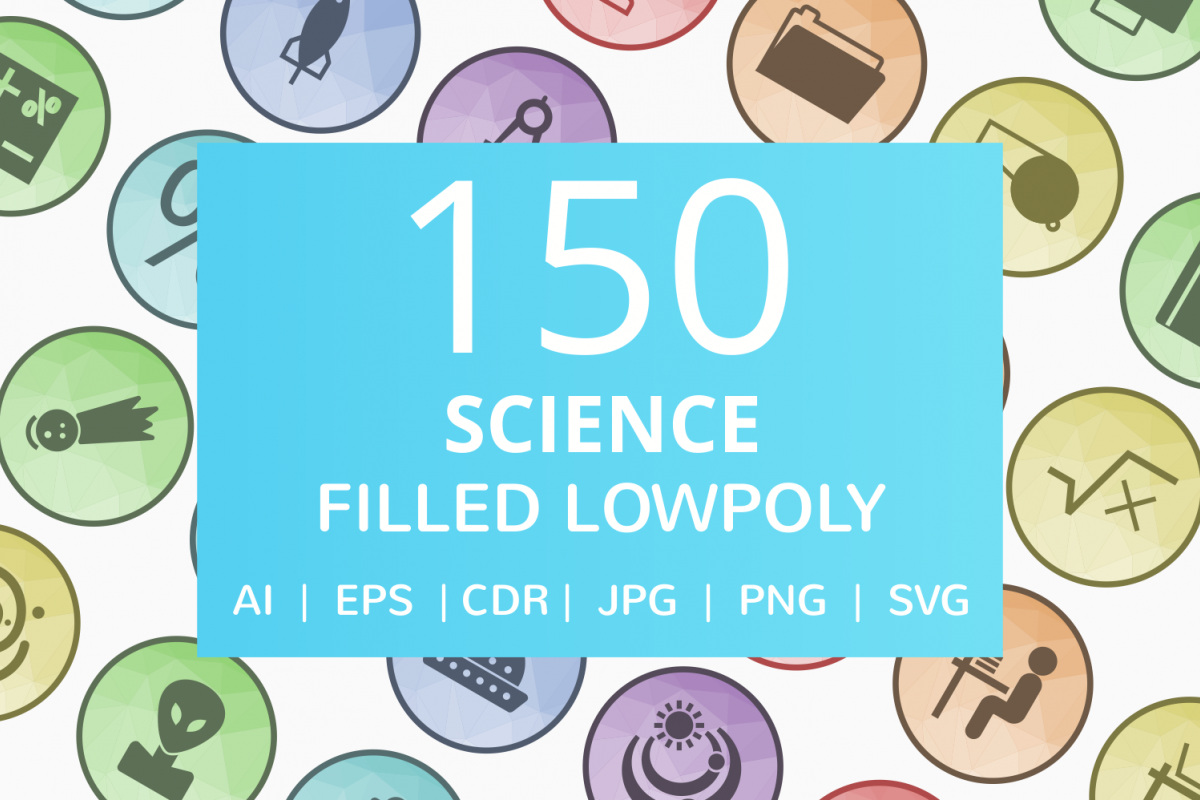 150 Science Filled Low Poly Icons example image 1
