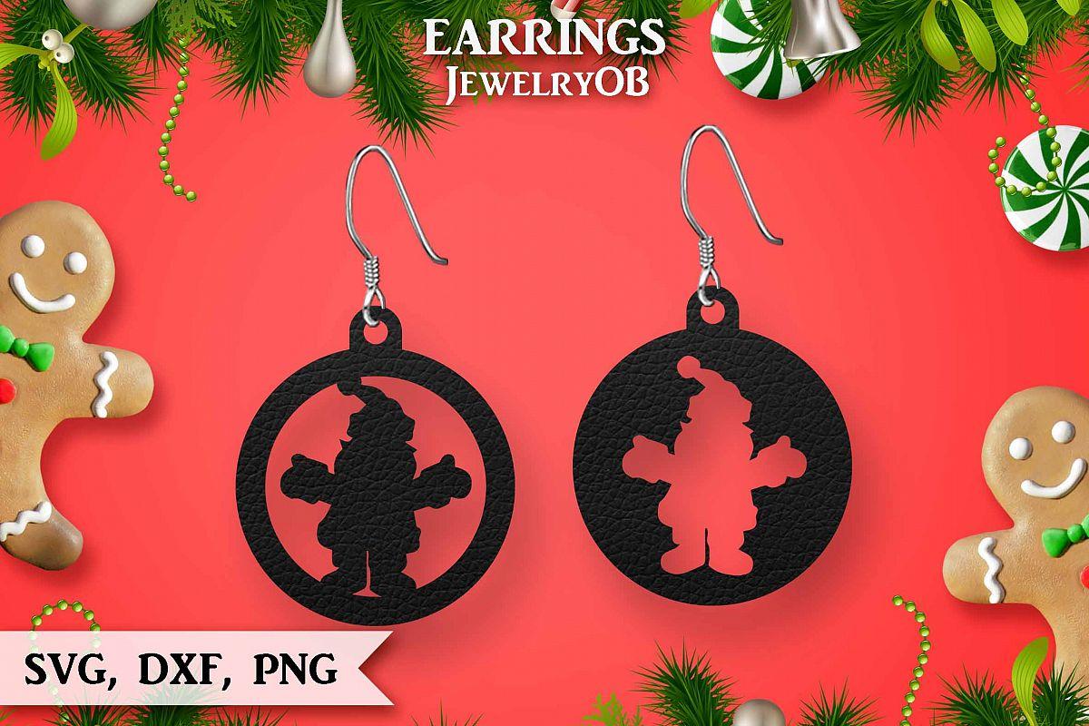 Christmas Earrings Cut File Svg Dxf Png Santa Claus