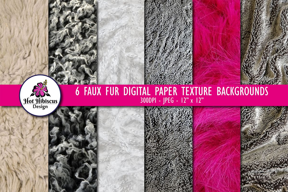 Fake Faux Fur Digital Paper Texture Background Images Bundle example image 1