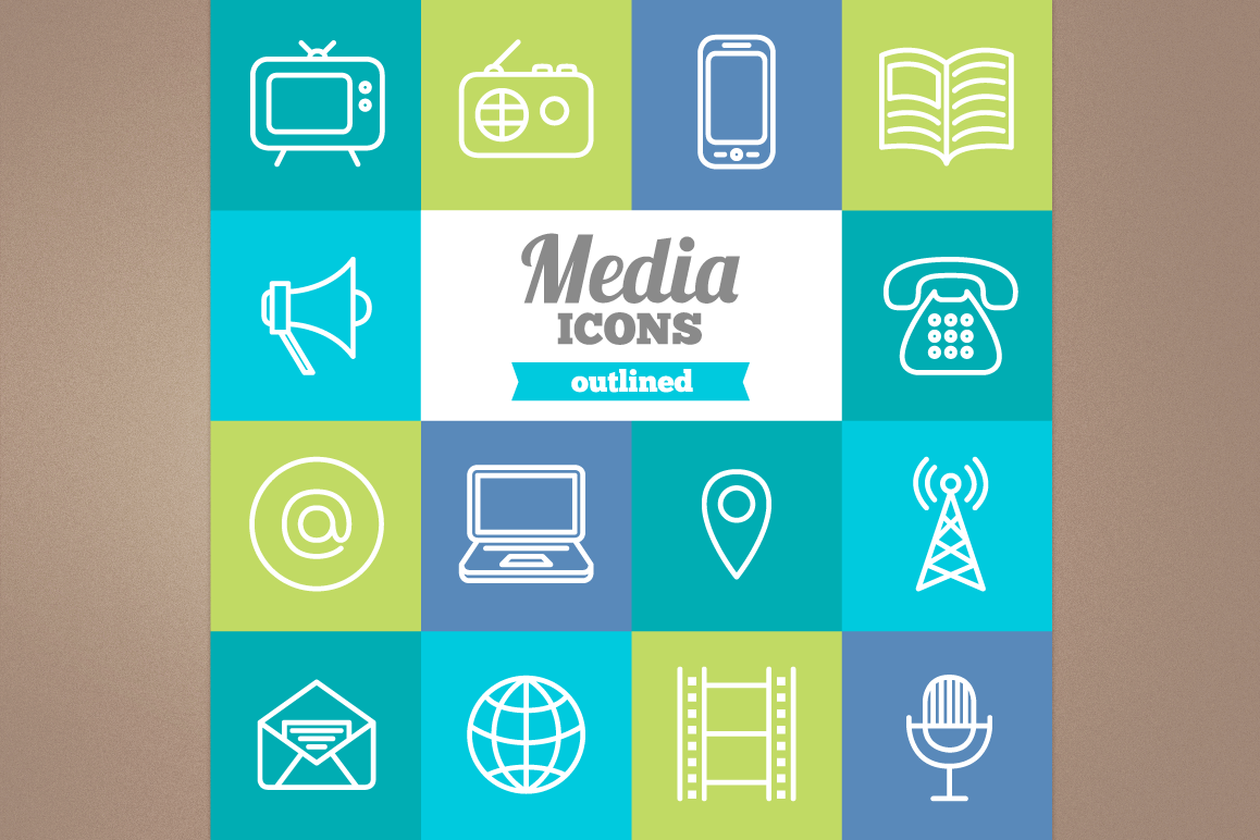 Outlined Media Icons example image 1