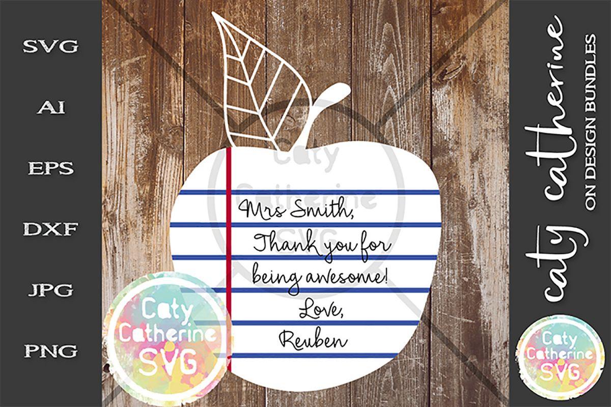 Apple Ruled Paper Thank You Teacher Teacher's Day SVG example image 1