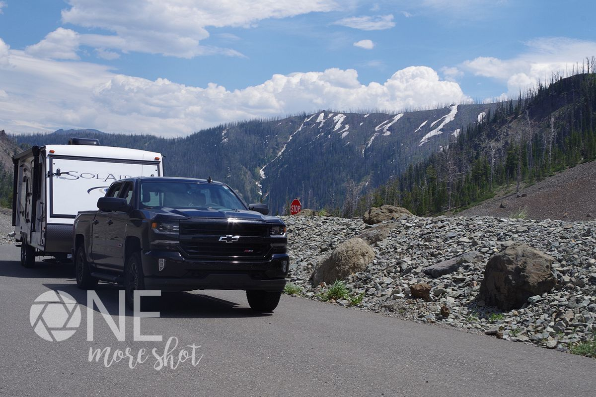 Yellowstone Mountains Camper Truck Snow - Western USA Photo example image 1