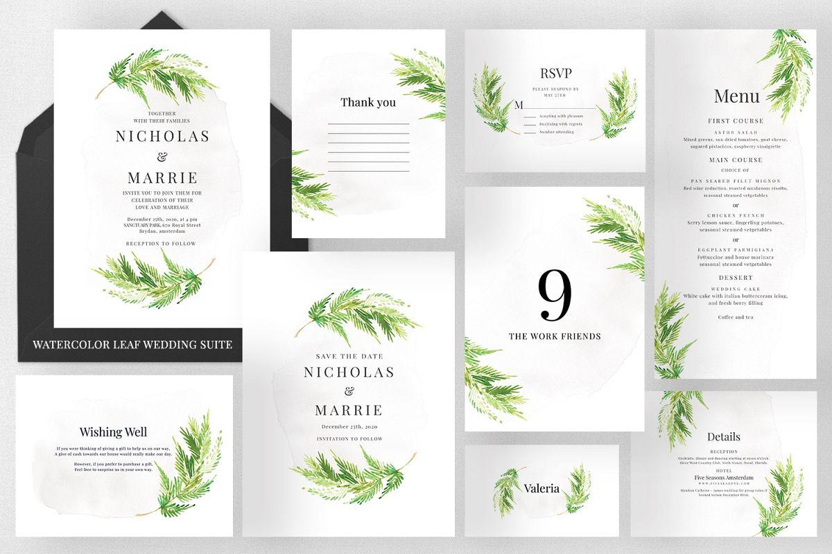 Watercolor Leaf Wedding Suite example image 1