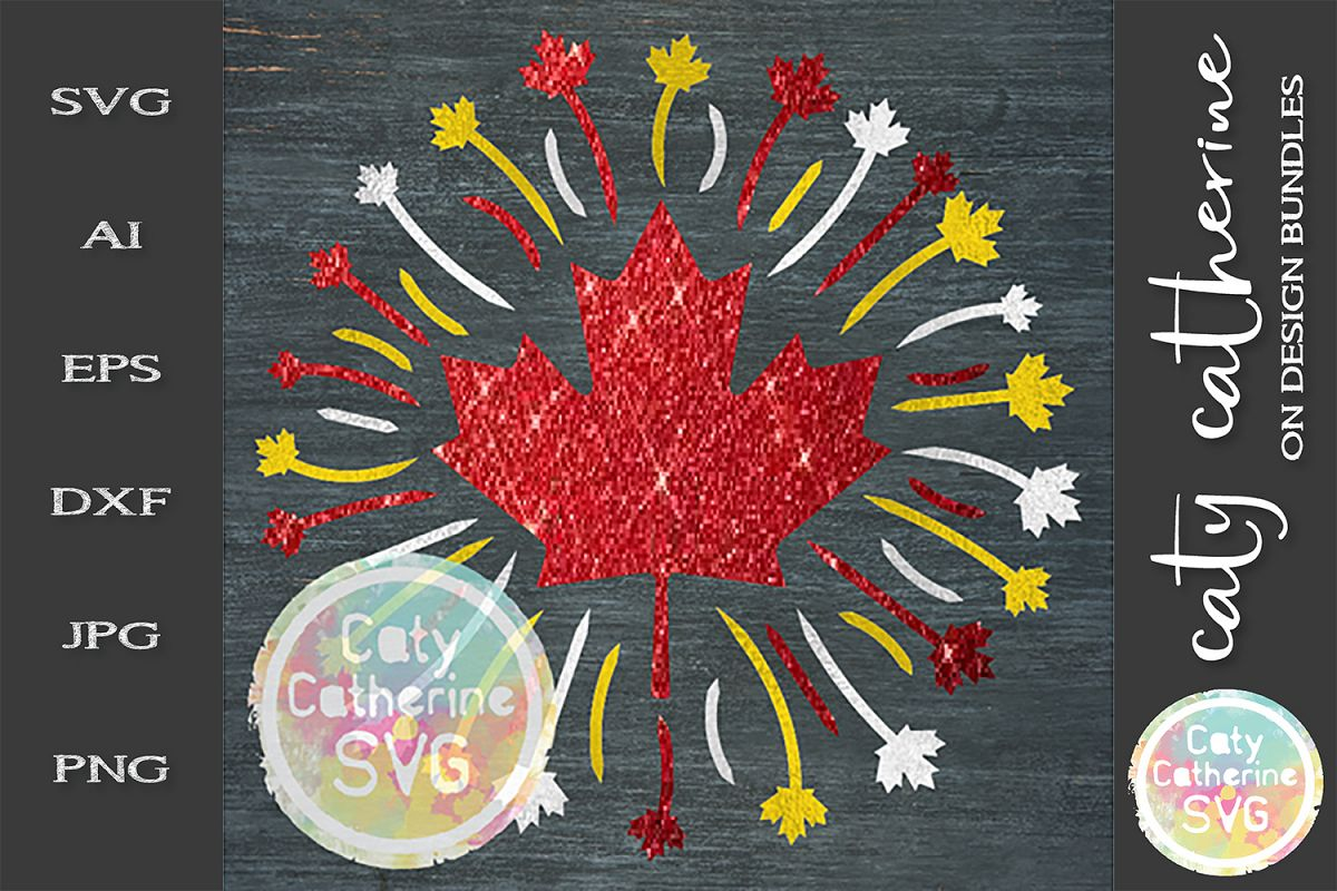 Fireworks Canadian Maple Leaf Canada Day SVG Cut File example image 1