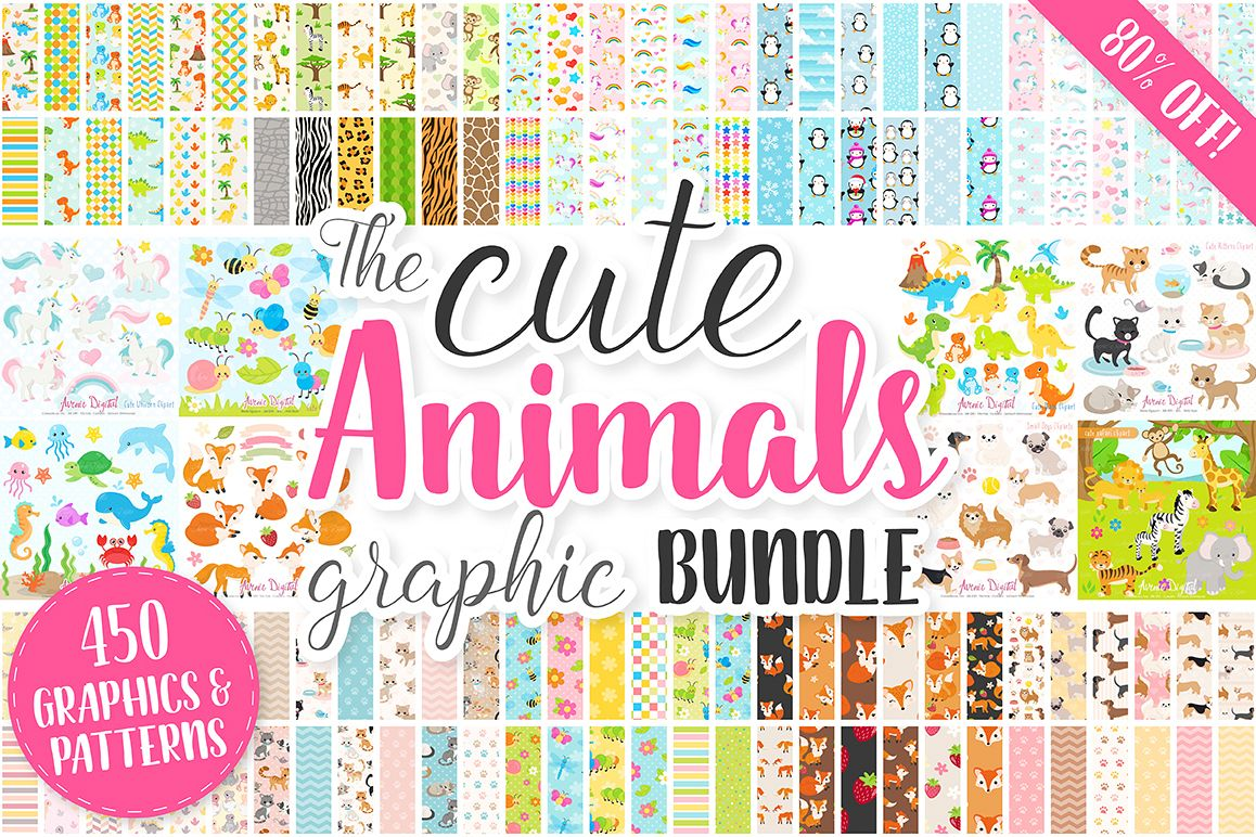 Cute Baby Animals Clip art Graphics and Digital Papers Patterns Bundle example image 1
