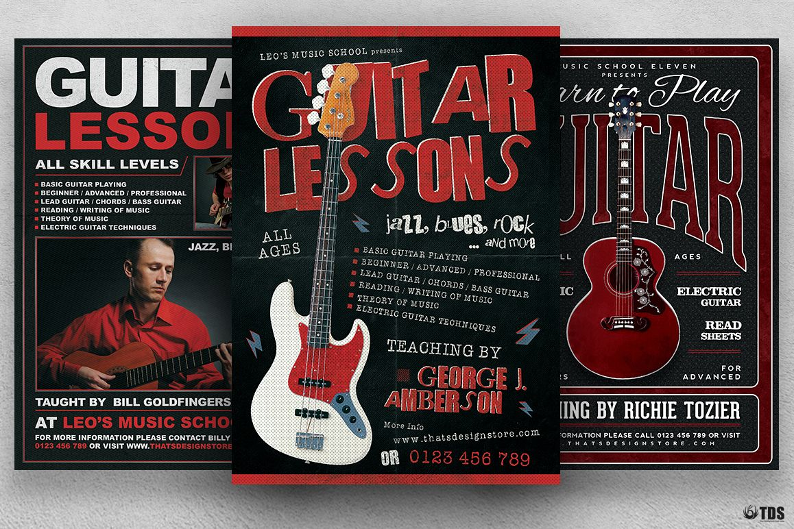 Guitar Lessons Flyer Bundle example image 1