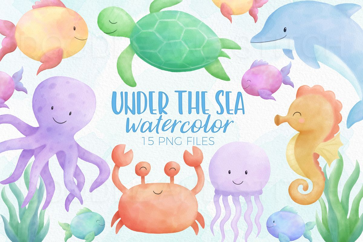 Under the Sea Watercolor Clipart Illustrations example image 1