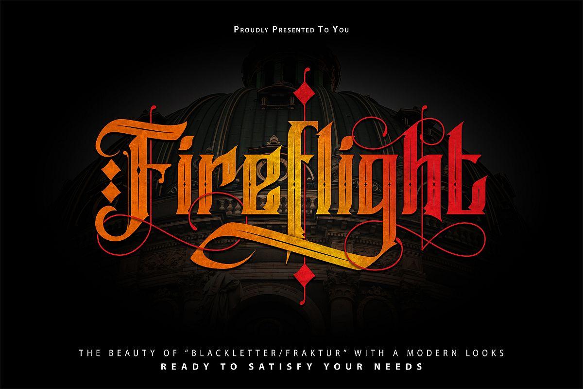 FireFlight   Blackletter Modern Font example image 1