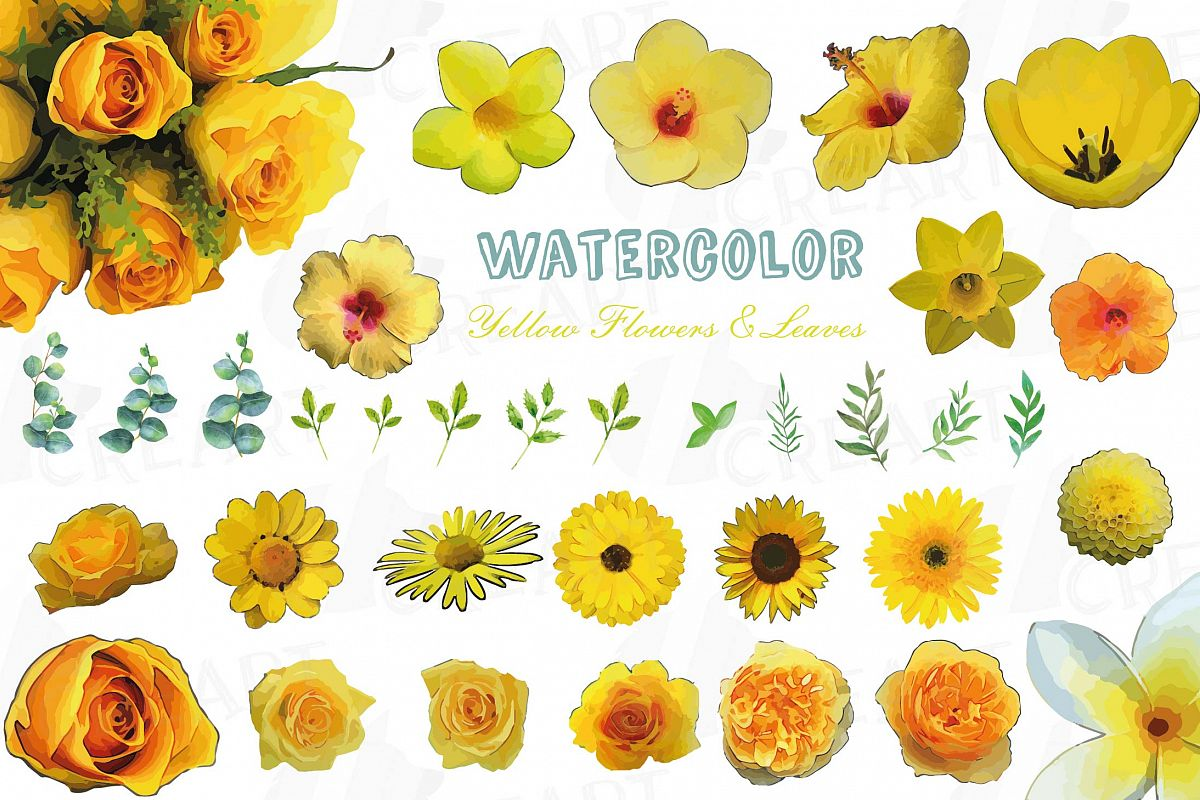 Watercolor Yellow Flowers And Green Leaves Clip Art Pack