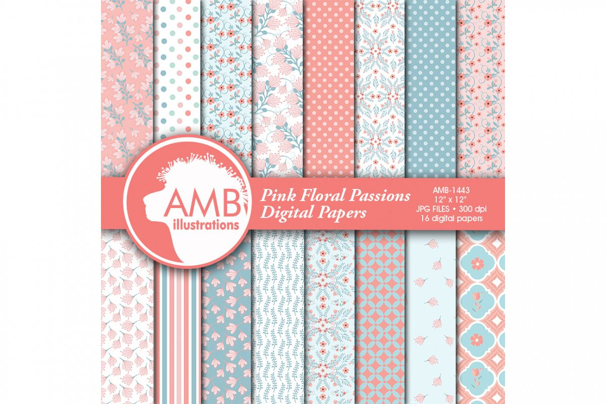 Floral papers, Shabby Chic Papers, Pink and Teal Florals, scrapbook papers, digital paper, commercial use, AMB-1443 example image 1