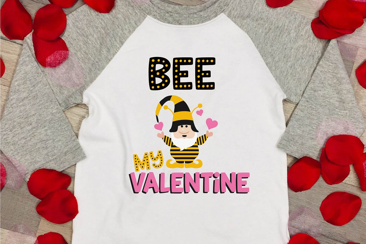 Valentine's Day SVG Valentine Gnome Bee My Valentine SVG example image 1