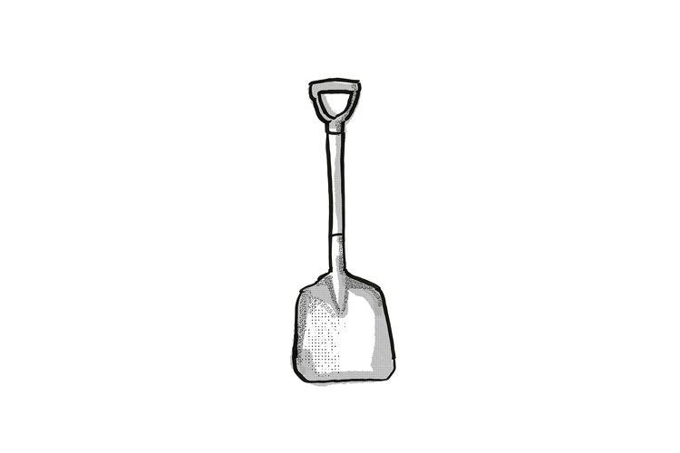 D-Handle scoop Garden Tool Cartoon Retro Drawing example image 1