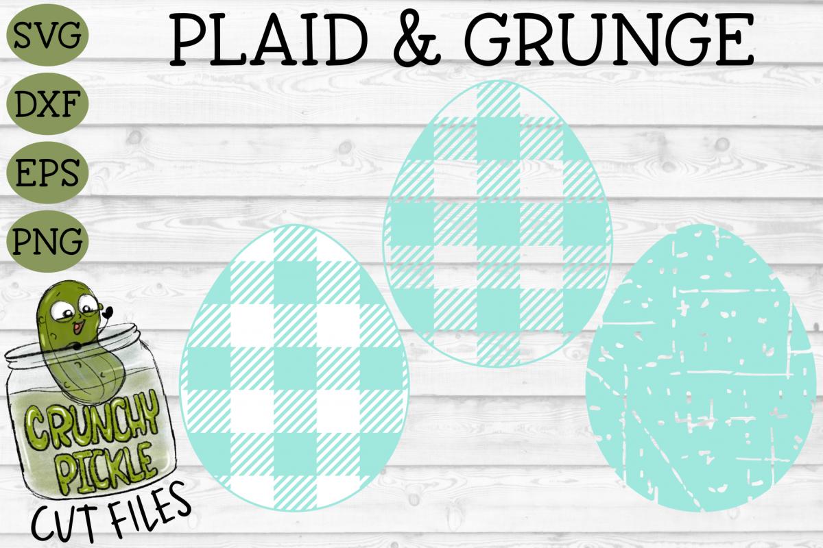 Plaid & Grunge Spring Easter Egg SVG Cut File example image 1