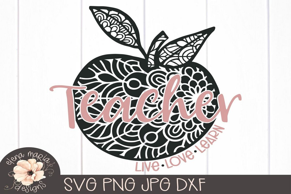 Teacher Mandala Svg | Live Love Learn Svg School Zentangle example image 1