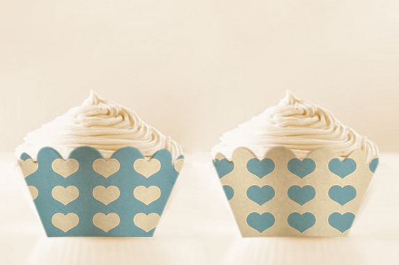 image relating to Printable Cupcake Wrappers referred to as Little one Blue Printable Cupcake Wrappers with Hearts