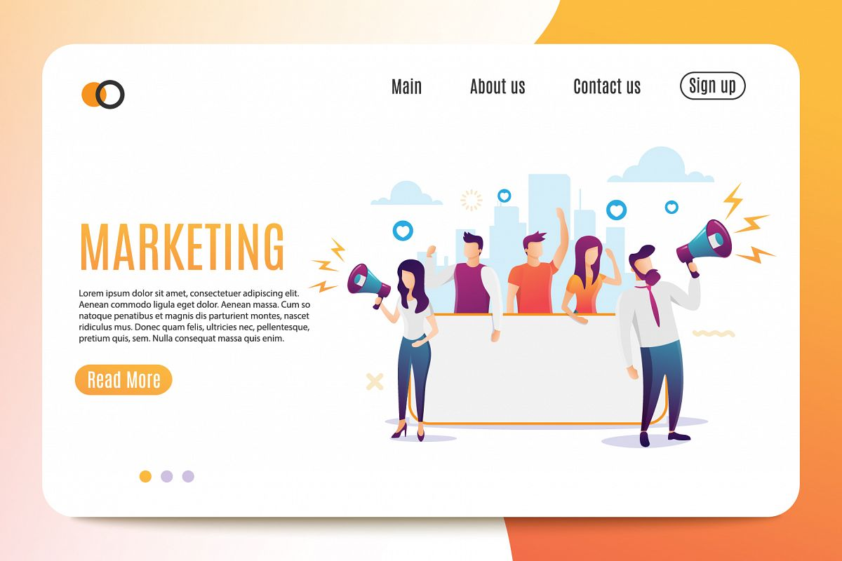 Marketing. Flat Style. Banner example image 1
