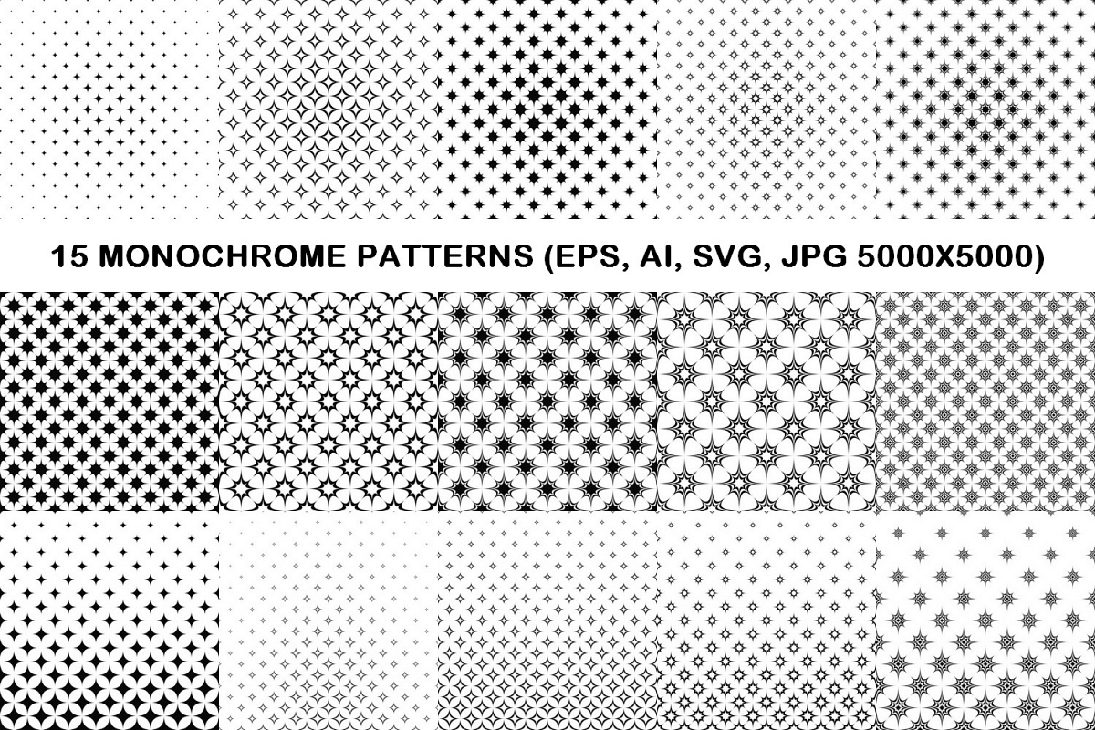 15 monochrome star patterns EPS, AI, SVG, JPG 5000x5000 example image 1