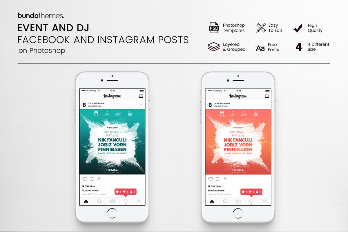 Event and DJ Facebook and Instagram Templates example image 1