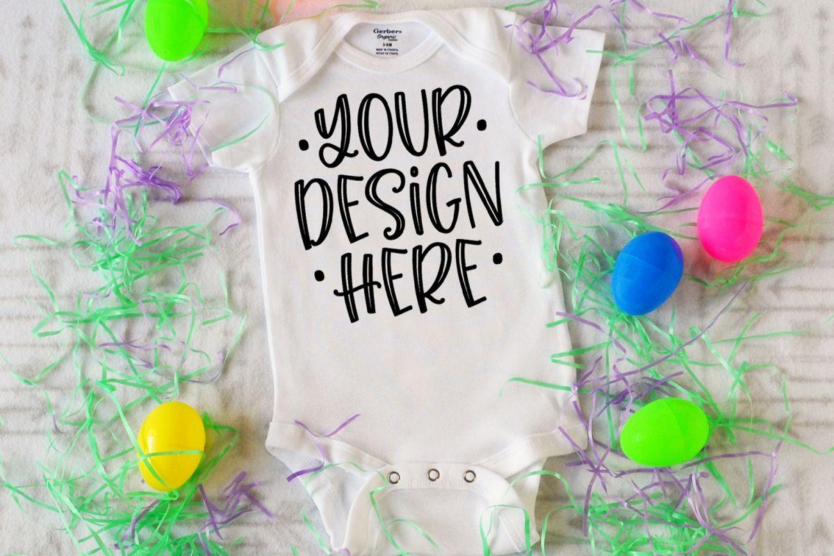 White baby bodysuit mockup for Easter example image 1