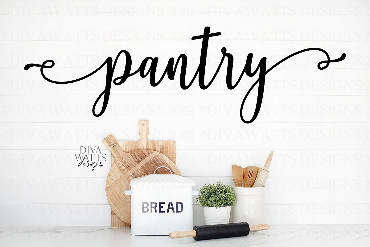 Pantry - Kitchen Farmhouse Fixer Upper Style Sign SVG PNG example image 1